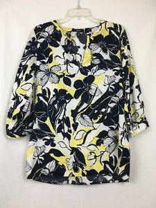 Chaps Floral Navy Blue And Yellow Boho Blouse Medium M Tropical 3/4 Sleeve