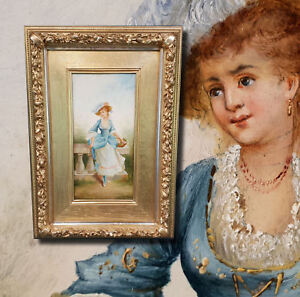 Young Girl in Park Original Antique Oil Painting Signed Siegen. 19. Century