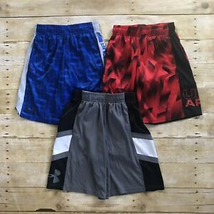 Under Armour Boys Loose Blue Gray & Red Lot Of 3 Active Shorts Size Small Youth