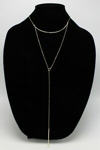 New French Connection Womens Layered Bar Lariat Necklace $38 Tags #FC13 $7.99