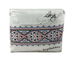 Sky Azteca Collection Embroidered Cotton KING Duvet Cover & Shams Set Multi