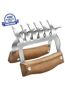 Metal Meat Claws, 18/8 Stainless Steel Meat Forks with Wooden Handle,