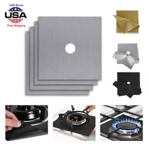 4x 10.6'' Reusable Gas Range Stove Top Burner Cover Protector Liner For Cleaning