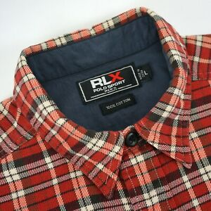 RLX Polo Sport Ralph Lauren Red Plaid Midweight Cotton Flannel Shirt - L Large