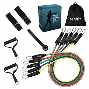 Letsfit Resistance Bands Set Training Tubes with Handles Door Anchor and Ankle