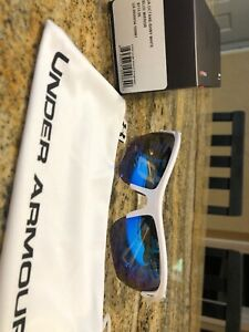 Under Armour Octane Sunglasses White frame with Blue Multiflection Lenses - New