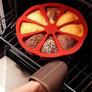 8 Cavity Silicone Round Baking Pan Cake Muffin Making Mold Triangle Pizza Slices