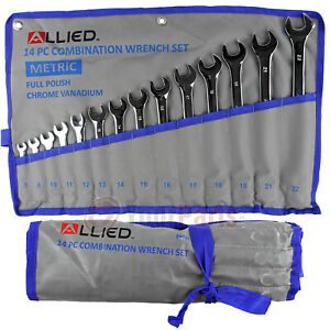 14 Piece Metric Combination Wrench Set 7mm to 22mm with Roll up Storage Pouch $32.95
