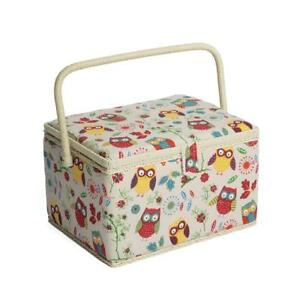 HobbyGift Large Sewing Basket Owl Design Red Brown Yellow Floral $42.57