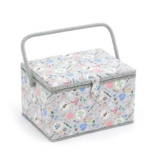 HobbyGift Large Sewing Basket Notions Grey Floral Bee Design $40.65
