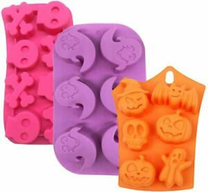 3X Halloween molds Cake Pumpkin Chocolate Bat Skull Jelly Silicone Mold Baking