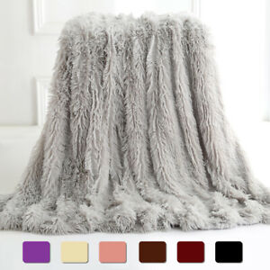 Faux Fur Throw Blanket Reversible Soft Fluffy Fleece Shaggy Sofa Bed Couch Decor