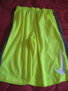 Boys Nike Dry Fit SHORTS Neon Yellow  Gray ~ YOUTH SIZE XL