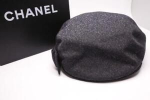 AUTHENTIC CHANEL LADIES HUNTING CAP NAVY SILVER COCO MARK SIZE M COLLAR 5CM