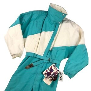 Vintage NILS Ski Suit Women's Size 14 Insulated Made in USA DEADSTOCK White Teal