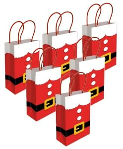 Santa Suit Red Paper Gift Bags - Christmas Novelty Table Present Favour Bag