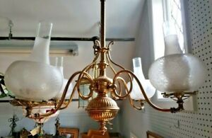 Very RARE Antique Brass Bronze Gas Chandelier Gilded 4 arms electrified $360.00