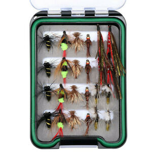 24pcs Trout Fly Fishing Lures Fly Tying Kit Dry Flies Nymph Waterproof Fly Box