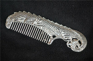 Collect China Chinese Handmade Tibet Silver Carved Vivid Dragon Comb