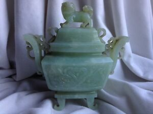 Antique Chinese Celadon Jade Censer Foo Dog Lion Dragon Ring Incense Burner Rare