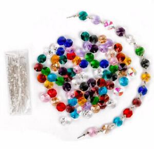100Pcs Crystal Octagonal Bead14mm  Chandelier +Hanging Sliver Butterfly Buckle