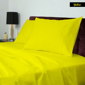 Soft Duvet Set Sheet Set Fitted Sheet Egyptian Cotton 600TC US Size Yellow Solid