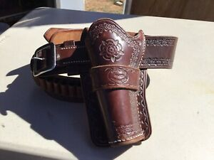 Chaparral Makes Arizona Territory Tooled Leather Holster & Bullet Belt Cowboy