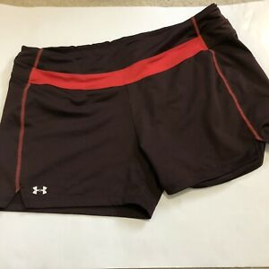 Under Armour XL Shorts Women Brown Orange Zipper Pocket Running Athletic Exercis