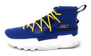 NEW Under Armour Steph Curry Boy Youth Basketball Shoes Blue Yellow Sz 5.5Y