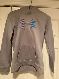 Girls Under Armour Storm Hoodie Youth Large (Gray wPink and light Blue UA Logo)