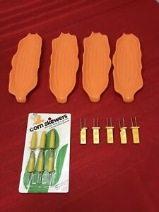Set of 4 Orange Corn On The Cob Plastic Serving Trays & 11 Picks Holder