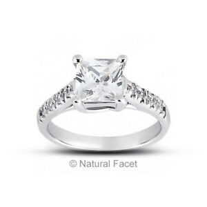 4.59ct D VS1 Radiant Earth Mined Certified Diamonds White Gold Side Stone Ring