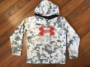 Under Armour Hoodie Boys Youth Small YSM Gray White Camo Red