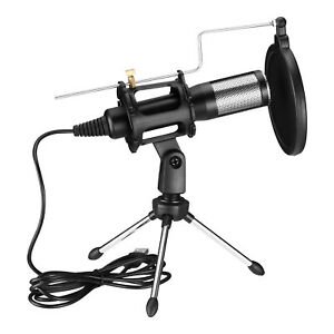 USB Condenser Microphone w Tripod Stand For Game Chat Audio Recording Computer $19.89
