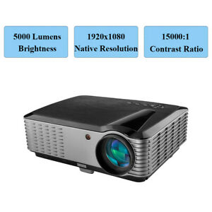 LED Projector FULL HD 1080P Video Games Home Theater TV Stick HDMI USB 4K 5000LM