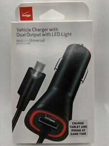 Verizon OEM 6ft Micro USB Car Charger with Dual Output & LED Light 3.4AMPS