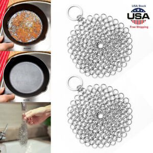 2pcs Stainless Steel Cast Iron Cleaner Chain Mail Scrubber Kitchen Cookware Tool