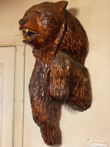 Large Half Mount Chain Saw Bear Wall Art With Original Artist Plaque