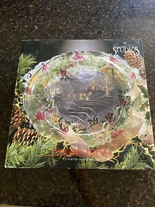 "Evergreen Wreath Christmas Glass Serving 13"" Tray Platter 1993"