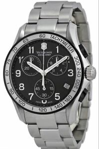 NEW Victorinox Swiss Army 241403 Black Dial Stainless Chrono Mens Watch $650