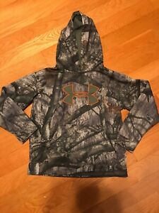 Under Armour Camouflage Loose Fit Hoodie Sweatshirt (Youth Large) Mossy Oak YLG