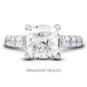 5.79 CTW D-VS1 Radiant Cut Natural Certified Diamonds 18k Gold Side Stone Ring