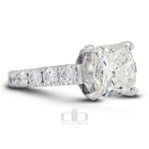 9.46ct tw G/VS2 Cushion Cut Natural Certified Diamonds 18K Gold Side Stone Ring