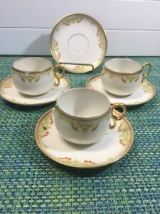 Set of 3 Vintage Bawo & Dotter Limoges Elite Works Cups & Saucers Gold Trim