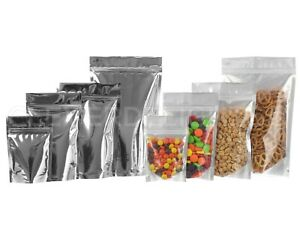 Silver Clear Stand Up Barrier Pouches Resealable Bags Packaging