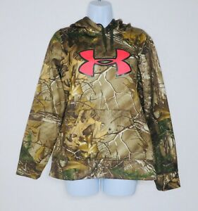 Women's Under Amour UA Camo Pink Logo Realtree Cold Gear Hoodie