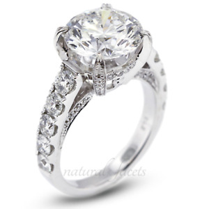 10.31ctw G/SI2 Round Cut Natural Certified Diamonds White Gold Side Stone Ring
