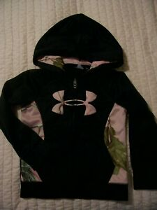 Under Armour Girls' HoodieZip-up~Pink CamoBlack Size 4