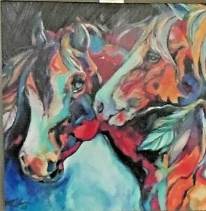 Two Spirits Horses Marcia Baldwin Painting on Canvas 15