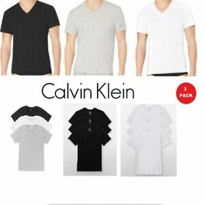 Calvin Klein Men#x27;s T Shirts 3 Pack 100% Cotton V Neck Crew Neck Tees Undershirts $24.90